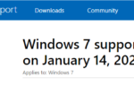 Windows 7 End of Life notice